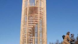 UTSIKTSTÅRN: Et slik tårn kan dukke opp i skogen i området mellom Marisberg og nye Roligheden skole.