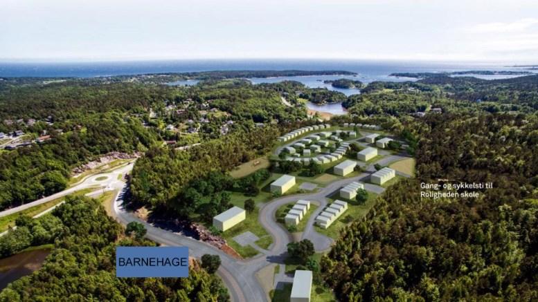 REDUSERER: Arendal Eiendom KF ønsker å bygge en mindre barnehage enn forespeilet på Marisberg. Ilustrasjon: Arendal Eiendom KF