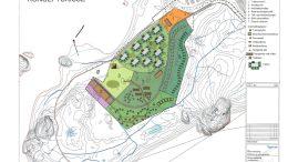 KONSEPTSKISSE:Slik var konseptskissen som HDU fikk utarbeidet i samarbeid med Asplan Viak for Hove Camping. Illustrasjon: Asplan Viak