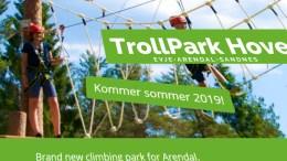 NY OPPLEVELSESPARK: I påsken skal etter planen den nye klatreparken åpne på Hove. Foto: skjermbilde trollaktiv.no