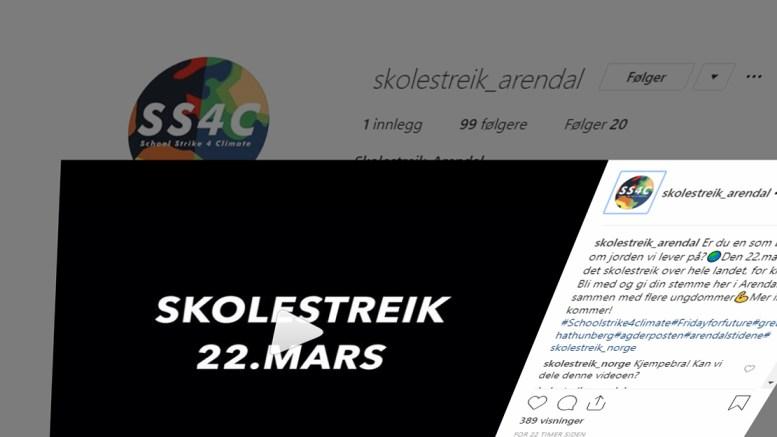 STØTTER STREIK: Arendal SV støtter elever og vil gi gyldig fravær for å streike for klima. Foto: skolestreik_arendal/Instagram