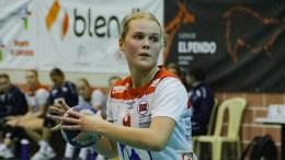 HÅNDBALL-EM: Trauma-spiller Fanny Skindlo i aksjon i ungdoms-EM i håndball i Slovenia. Foto: Luis Neves