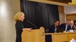 HAVNESTØY: Kristina Stenlund Larsen (uavh.) fremmet forslag i bystyret om å sette opp støymålere på Arendal havn på Eydehavn. Foto: Esben Holm Eskelund