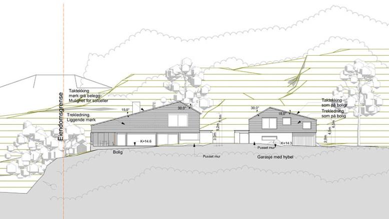 SILDEVIGVEIEN: Denne boligen med garasje kan bli bygget i Sildevigveien. Illustrasjon: Trafo Arkitektur