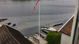 OLJESØL: Oljefilmen ble observert ved Dalene og Torjusholmen søndag formiddag. Foto: Leif Gerhard Andersen