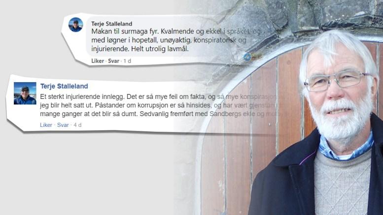 SVARER STALLELAND: Alf Martin Sandberg mener HDU-lederen burde tilbakevise hans påstander om de er usanne. Foto: faksimile Facebookinnlegg/montasje