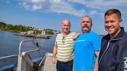 FARLEDSUTVIDELSE: I fjor sto Frps Anders Kylland (t.v.), Edward Terjesen (nå uavh.) og Andreas Arff sammen om å få utvidet farleden under sjøen ved Galten i Galtesund. Det gjør de fortsatt og fikk bystyreflertallet med seg på at det skal jobbes for å få det til. Arkivfoto