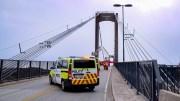 STENGTE BROA: Tromøybroa ble stengt i nærmere en halvtime i forbindelse med en hendelse onsdag. Foto: Esben Holm Eskelund