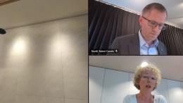 INGEN GRANSKNING: Bystyreflertallet gikk imot Sps Kristina Stenlund Larsens forslag om at Hove-saken må granskes av en settekommune. Foto: Skjermbilde Teams