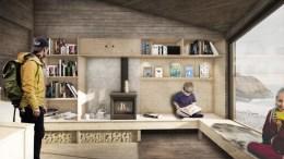 MØTEPLASS: Hytta skal være åpen for alle og være en sosial møteplass - her illustrert med utsikt fra Hoveodden. Illustrasjon: Feste Sør AS