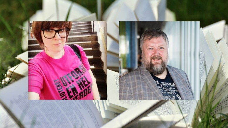 LESESOMMAR: Vidar Lund og Caroline Lien Gabrielsen i Norsk Bibliotekforening oppmodar til lesing denne sommaren. Foto: Privat/Illustrasjon/Montasje