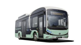 TROMØYRUTA: Slik kan en buss i el-innpakning bli seende ut, om den blir som illustrasjonen Tromøy Frivilligsentral har fått laget til prosjektet. Illustrasjon: Tom Terjesen