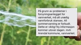 VANNRESTRIKSJONER: Arendal kommune har oppdaget feil med pumpestasjon, og ber folk la være å bruke unødig vann i en periode for å fylle opp reservoaret igjen. Illustrasjonsfoto / Montasje