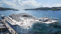 KNUBBEN SJØBAD: Slik kan Knubben i Galtesund bli seende ut i 2024, om prosjektet blir realisert. Illustrasjon: Snøhetta/ Aestetica Studios