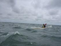 tegenwind en stroming mee geeft grotere golven op weg naar Vlieland