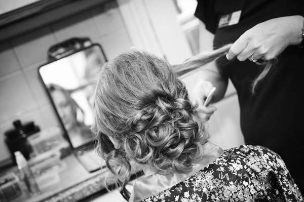 Laura black and white updo