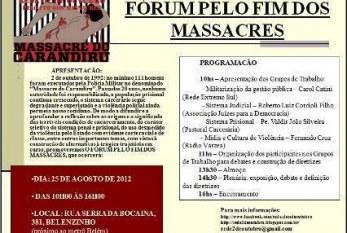 """Movimento realiza """"Fórum pelo fim dos massacres"""" no próximo sábado (25) para debater a violência nas periferias"""