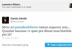 A certeza da impunidade: Danilo Gentili oferece 'bananas' a internauta negro pelo Twitter