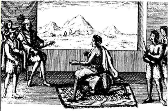 Rainha Ginga em negociação de paz com o governador português em Luanda, 1657.