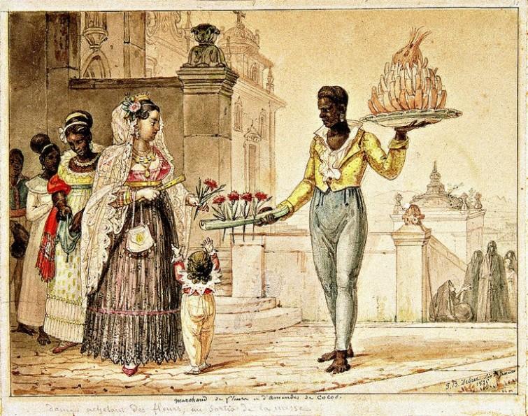 1829: o vendedor de flores e os escravos alinhados