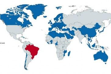 Todos os países em azul no mapa somam a mesma quantidade de homicídios do Brasil