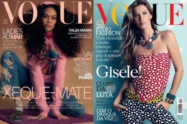 capa da revista vogue, uma mulher negra e outra com Gisele Bündchen