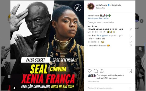 Cartaz do Rock in Rio 2019 com o cantor Seal e a cantora baiana Xênia no facebook