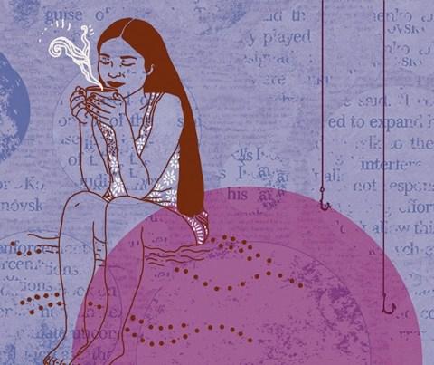 Ilustração de uma mulher sentada tomando algo quente.