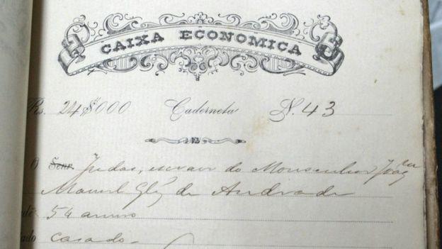 Caderneta de poupança de Judas, escravo, com 24 mil réis