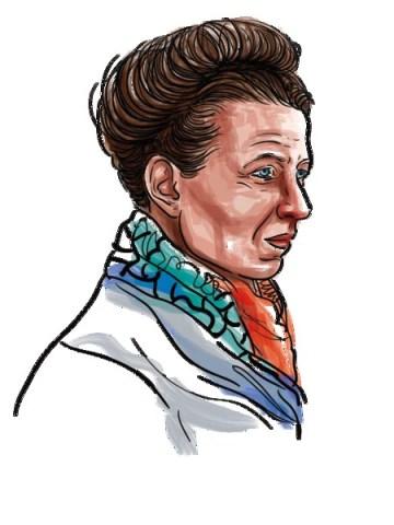 Ilustração de Simone de Beauvoir, mulher branca, vestindo camiseta branca e lenço colorido no pescoço.