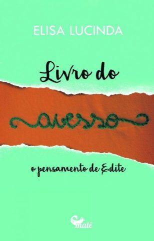 Capada do livro 'Livro do avesso', letras escritas como se tivessem sido bordadas em vermelho e com um fundo verde claro