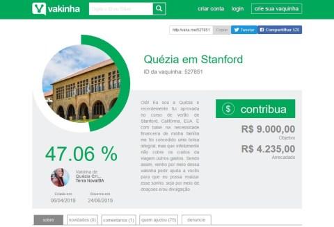 Print de tela da vaquinha online, onde mostra o objetivo da arrecadação do dinheiro e a quantidade adquirida ate o momento.
