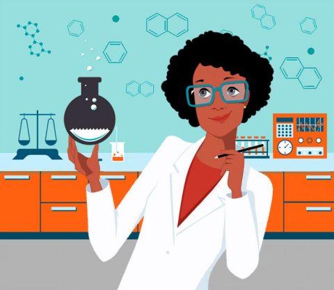 Ilustração de uma cientista negra no laboratório