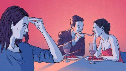 Ilustração de uma mulher com a mão na testa - como se reprovasse a situação- vendo um casal sentado em uma mesa de restaurante