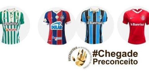 Montagem com as camisetas dos times: Bahia, Grêmio, Internacional e Juventude