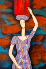 Mulher com lata d_água Acrílica sobre Tela 80 X 120 cm
