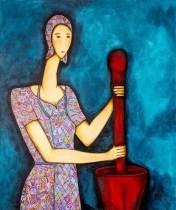 Mulher com pilão Acrílica sobre Tela 100 X 120 cm
