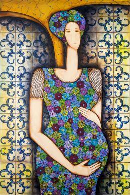 Mulher grávida Acrílica sobre Tela 80 X 120 cm