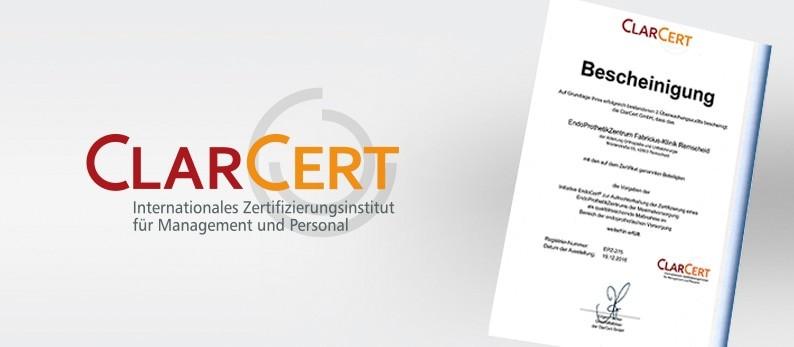 ClarCert verleiht erneut die Zertifizierung zum EndoProthetikZentrum der Maximalversorgung.