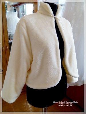 Gelin Ceketi Gelin imitasyon peluş Kürkü hakim yaka uzun kollu ip bağlamalı çift taraflı kullanma özelliği içi dışı yumuşacık peluş polar kumaşımız