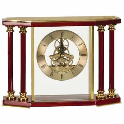 Executive Rosewood Pillar Mantle Clock
