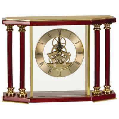 Executive Rosewood Pillar Mantle Clock