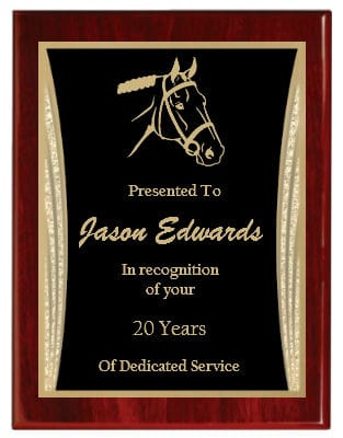 Red Piano Finish Presentation Plaque with Black engraved plate