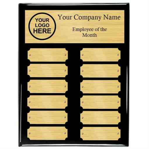 Black Piano Finish Perpetual Plaque with Gold Plates