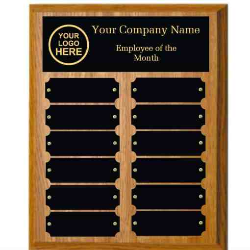 Oak Employee of the month Plaque with Black Plates