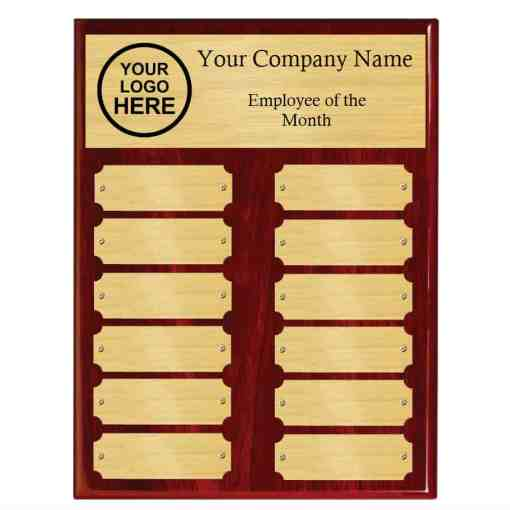 Red Piano Finish Perpetual Plaque with Gold Plates