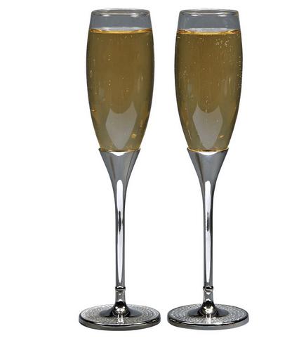 Glitter Galore Silver Wedding Glasses