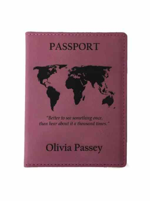 Pink Passport Cover with Free Personalization