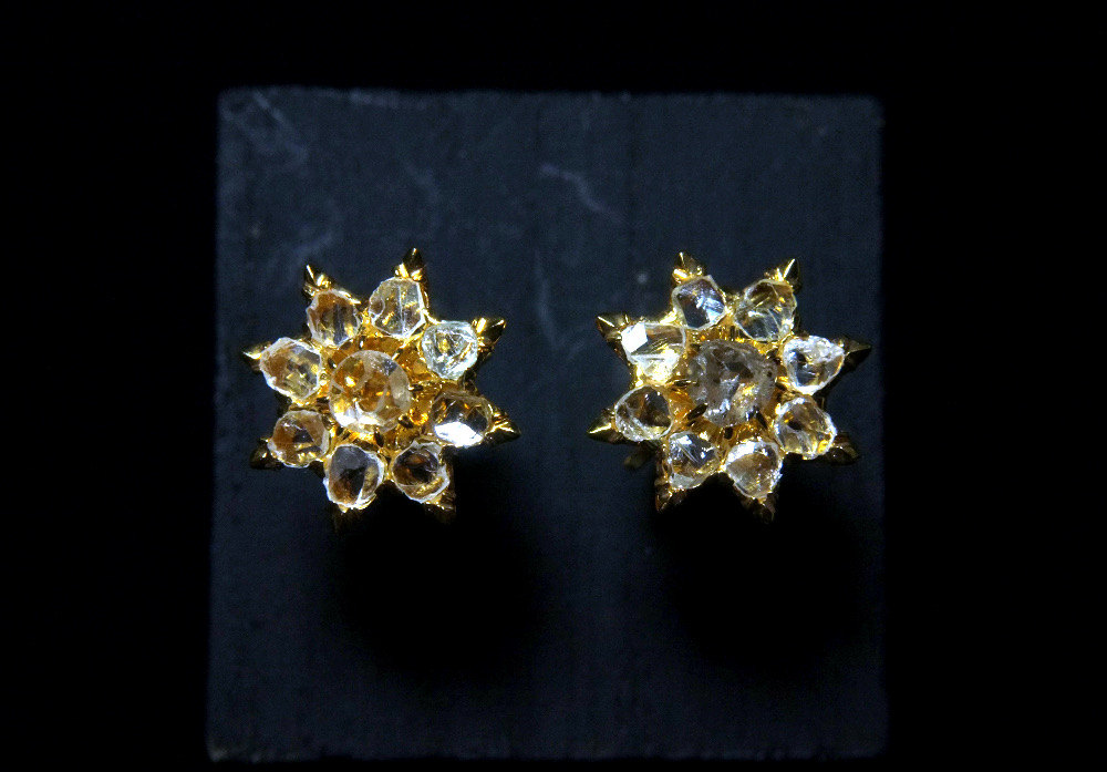 18k Antique Rose Cut Diamond Earrings