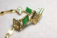 Antique Jade OEC Diamond Bracelet 20k Peranakan